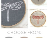 Modern embroidery kit, dragonfly embroidery pattern, easy DIY hoop art, beginner embroidery kit, easy embroidery, dragonfly decor