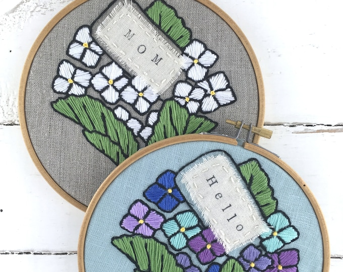 Personalized Embroidery Kit, Mother's Day Gift Idea, Floral Bouquet embroidery pattern, hydrangeas embroidery pattern, Gift for Mom idea