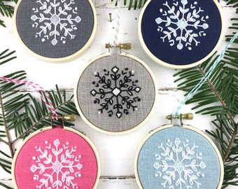 Christmas Ornament Embroidery Kit Bundle, FIVE snowflake embroidery kits, christmas ornament set, DIY Christmas gift idea, iheartstitchart