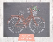 Embroidery kit, beginner embroidery kit, modern hand embroidery pattern, bicycle embroidery pattern, easy hand embroidery kit, bike xstitch