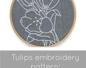 Tulip embroidery pattern, tulips pattern, PDF embroidery pattern, DIY embroidery, tulips theme, I Heart Stitch Art, iheartstitchart