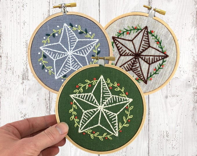 Christmas ornament kit, embroidery kit, Christmas star, DIY hoop art kit, I Heart Stitch Art, modern embroidery, Christmas embroidery