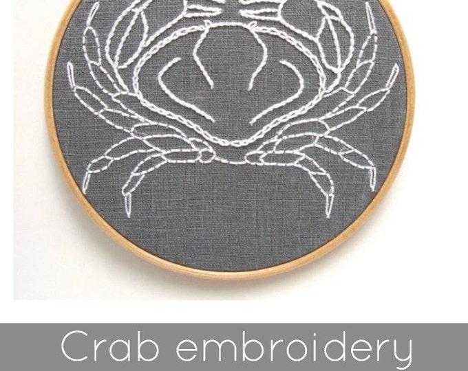 Crab Embroidery Pattern - Digital Download