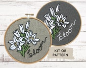 Floral Embroidery Kit, lily hand embroidery kit, flower embroidery pattern, lily embroidery kit, lilies embroidery pattern, hand embroidery