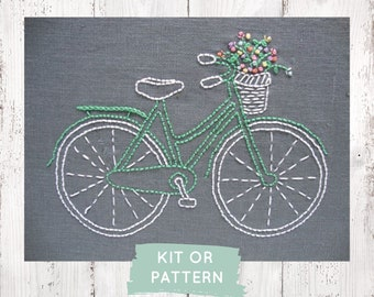 Embroidery kit, beginner embroidery Kit, DIY embroidery kit, modern hand embroidery pattern, bicycle embroidery pattern, bicycle pattern