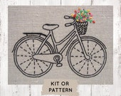 Beginner embroidery kit, hand embroidery kit, hand embroidery pattern, beginner embroidery, easy embroidery kit, bicycle embroidery pattern