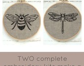 Embroidery Kit PAIR, bee embroidery, dragonfly embroidery, DIY embroidery hoop art, learn embroidery, modern hand embroidery patterns