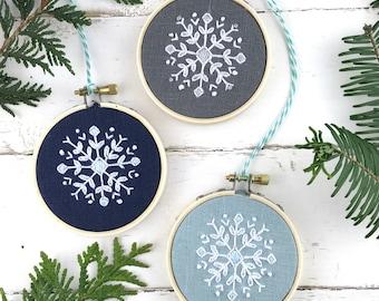Christmas Ornament Embroidery Kit Set, THREE snowflake embroidery kits, christmas ornament set, DIY Christmas gift idea, iheartstitchart