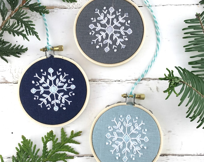 Christmas Ornament Embroidery Kit Set, THREE snowflake embroidery kits, christmas ornament set, DIY Christmas gift idea, iheartstitchart
