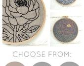 Peony embroidery pattern, flower embroidery kit, modern hand embroidery, I Heart Stitch Art, DIY needlecraft kit, DIY peony pattern