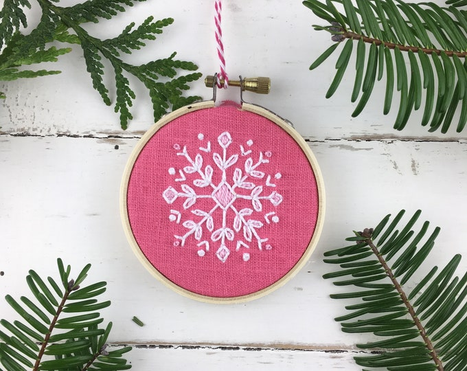 Christmas Ornament Kit, Pink Christmas, Snowflake Ornament, Embroidered Ornament Kit, Cross Stitch Ornament Kit, Christmas Embroidery, DIY