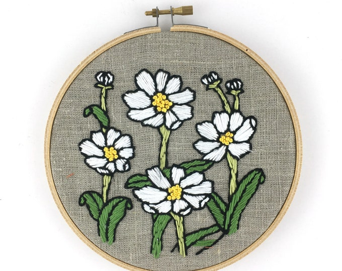 Daisies Embroidery Kit, Beginner Floral Embroidery, Floral Embroidery Pattern, Easy Embroidery Kit, Floral Cross Stitch Pattern, Daisy Hoop