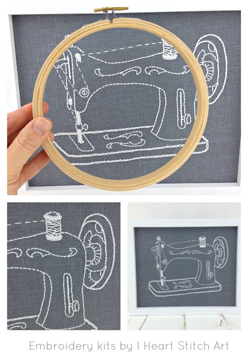 iheartstitchart craft decor DIY hoop art vintage sewing machine Embroidery kit embroidery pattern gift for sewist modern embroidery