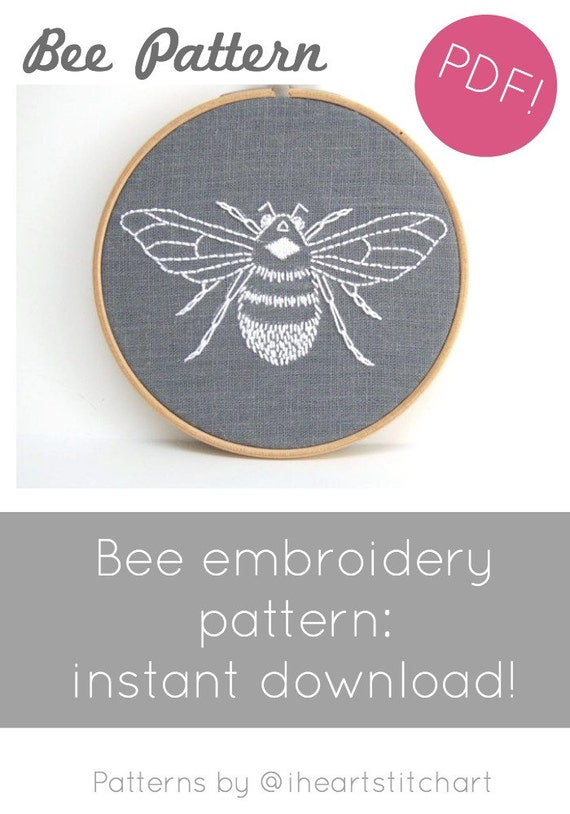 Pdf Embroidery Pattern Bumblebee Download Hand Embroidery Etsy