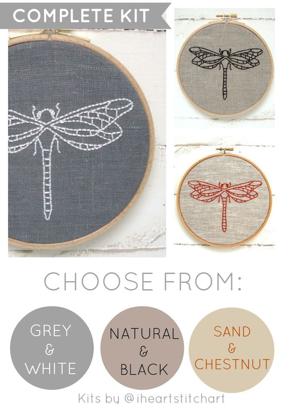 Modern Embroidery Kit Dragonfly Embroidery Pattern Easy Diy Etsy