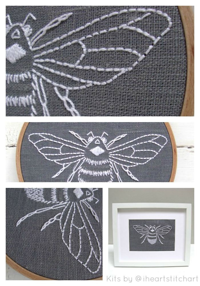 Bee Embroidery Pattern Digital Download