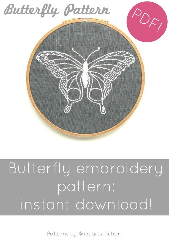 Butterfly Embroidery Pattern Modern Hand Embroidery Etsy