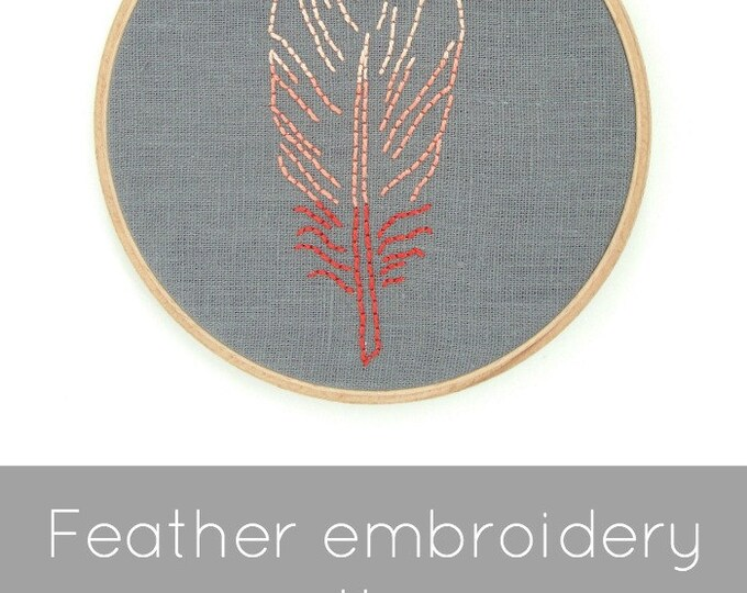 Feather Embroidery Pattern - Digital Download