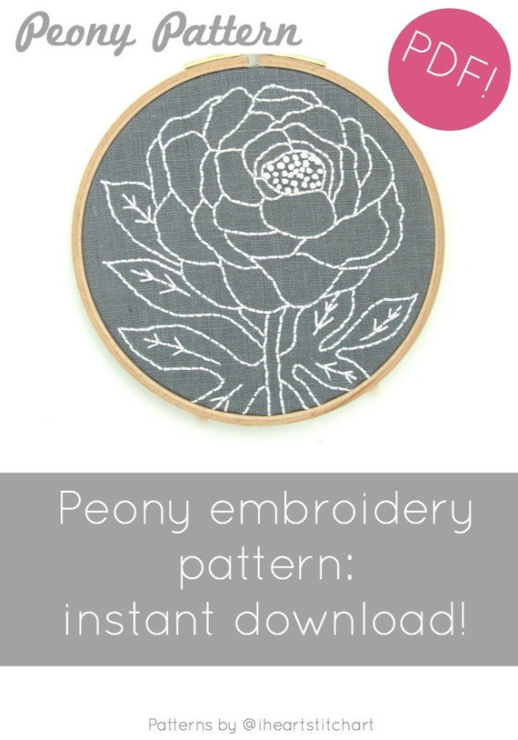 Peony Embroidery Pattern Floral Embroidery Modern Hand Etsy