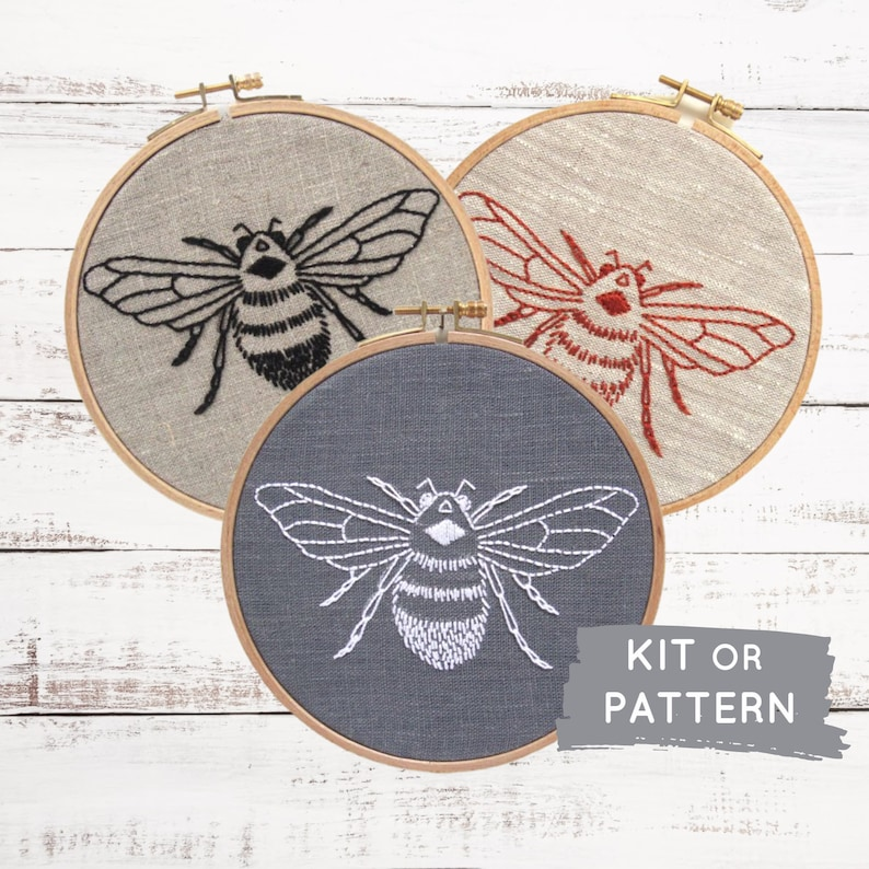 DIY embroidery KIT bumblebee embroidery pattern modern hand image 0