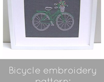 Bicycle Embroidery Pattern - Instant Download