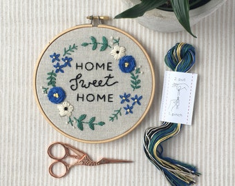 Embroidery Kit, Home Sweet Home, Beginner Embroidery Kit, Hand Embroidery Pattern, DIY craft kit, Easy Embroidery, Housewarming Gift