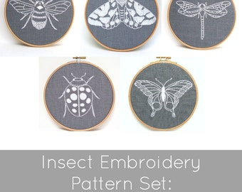Insect Embroidery Pattern Set - Digital Download
