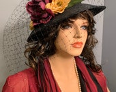 1920s Dress Set 9X Complete Costume Red Plum Pantone 19-2025 Plus Size Gatsby Downton Abbey Hat Jewelry Purse Scarves EASY RETURNS REFUNDS