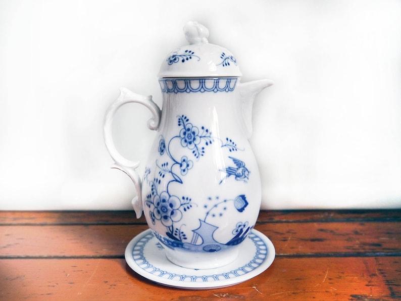 Vintage Porzellan Teekanne / Kaffeekanne Indisch Blau Blumen   Etsy