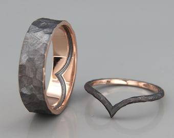 14K Rose Gold Wish Bone Wedding Rings Set | 14k rose gold Wish Bone wedding Rings | His and Hers Wedding Bands Set | Black Rhodium Bands Set