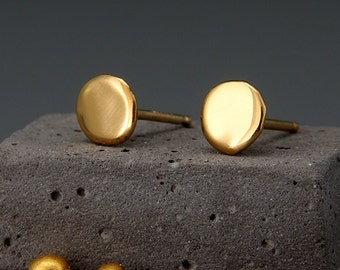Solid 24K Gold Earrings Nuggets | Handmade Dainty Solid 24K Gold Nuggets Earrings | Solid Gold Stud Earrings