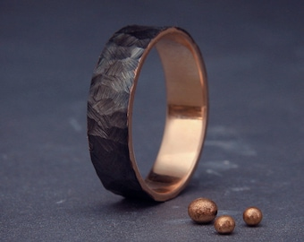 Black 14k Rose Gold Men's wedding ring  Handmade 14k solid rose gold rough faceted men wedding band   3mm, 4mm, 5mm, 6mm, 7mm