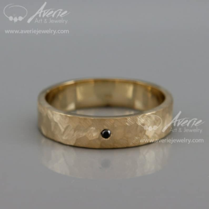 Rough Faceted Hammered Wedding Band set with Black Diamond 14k Solid Gold Man Textured Wedding Band Black Diamond Men Wedding Band