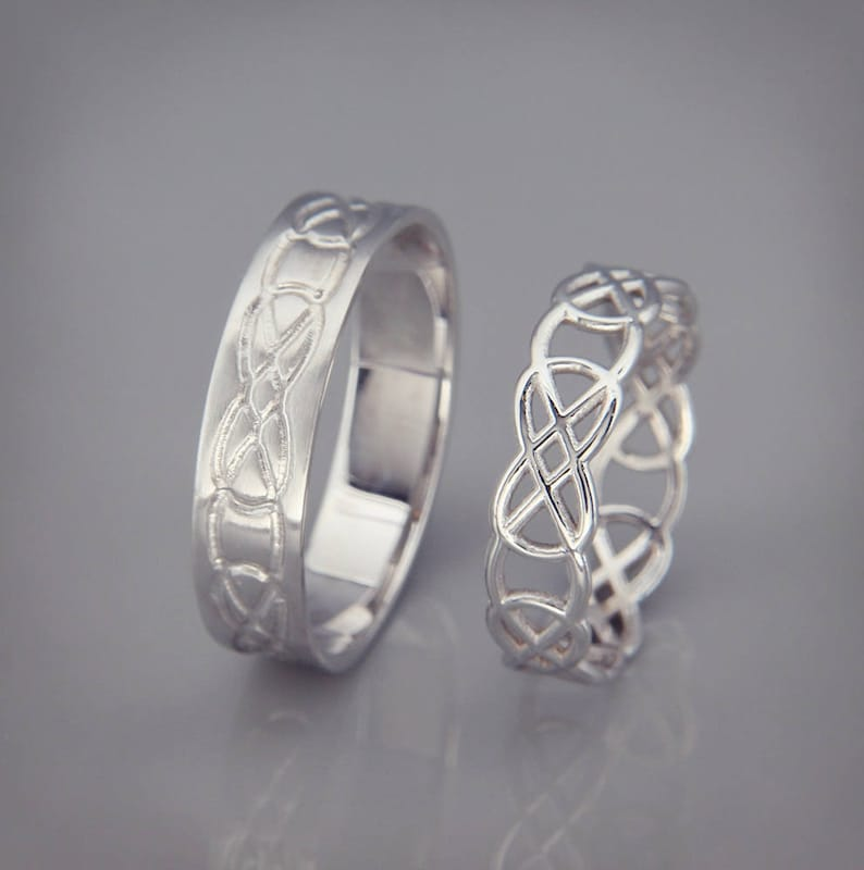 Celtic Knot Wedding Bands.14k White Gold Celtic Knot Wedding Rings Set Handmade 14k White Gold Celtic Wedding Rings His And Hers Wedding Bands Set