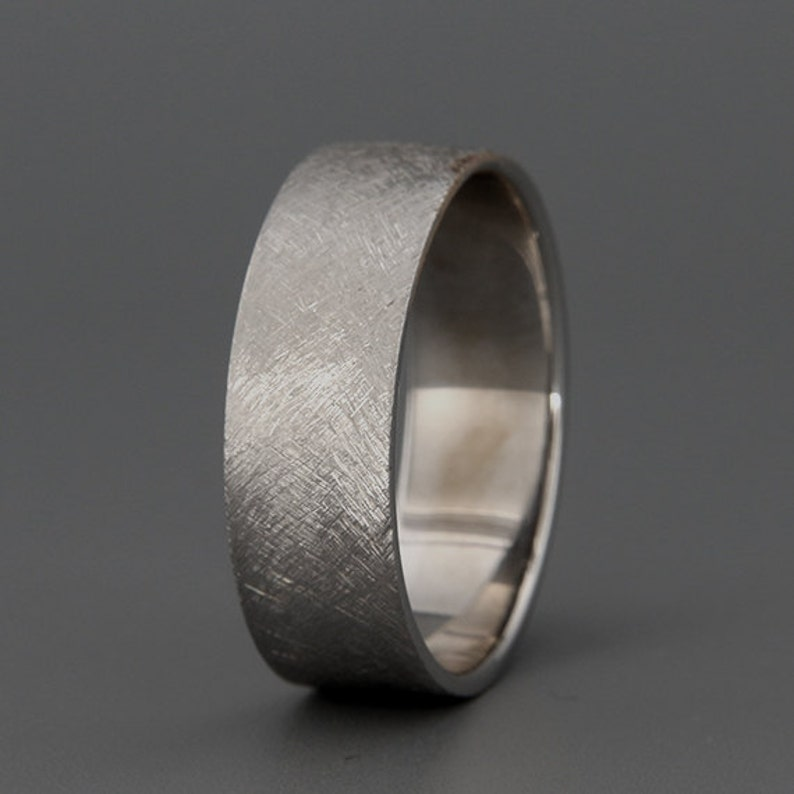 8e20281181cd9 14k Solid White Gold Men's Wedding Band in Rustic Style   Etsy