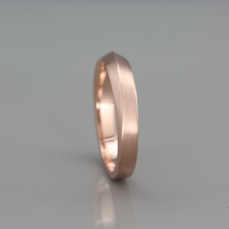 Rose Gold Knife Edge Men S Wedding Ring Handmade Solid Etsy