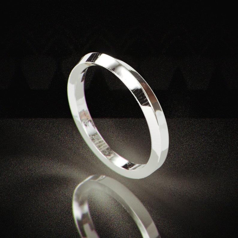 14k White Gold Knife Edge Women Wedding Ring Handmade Solid Etsy