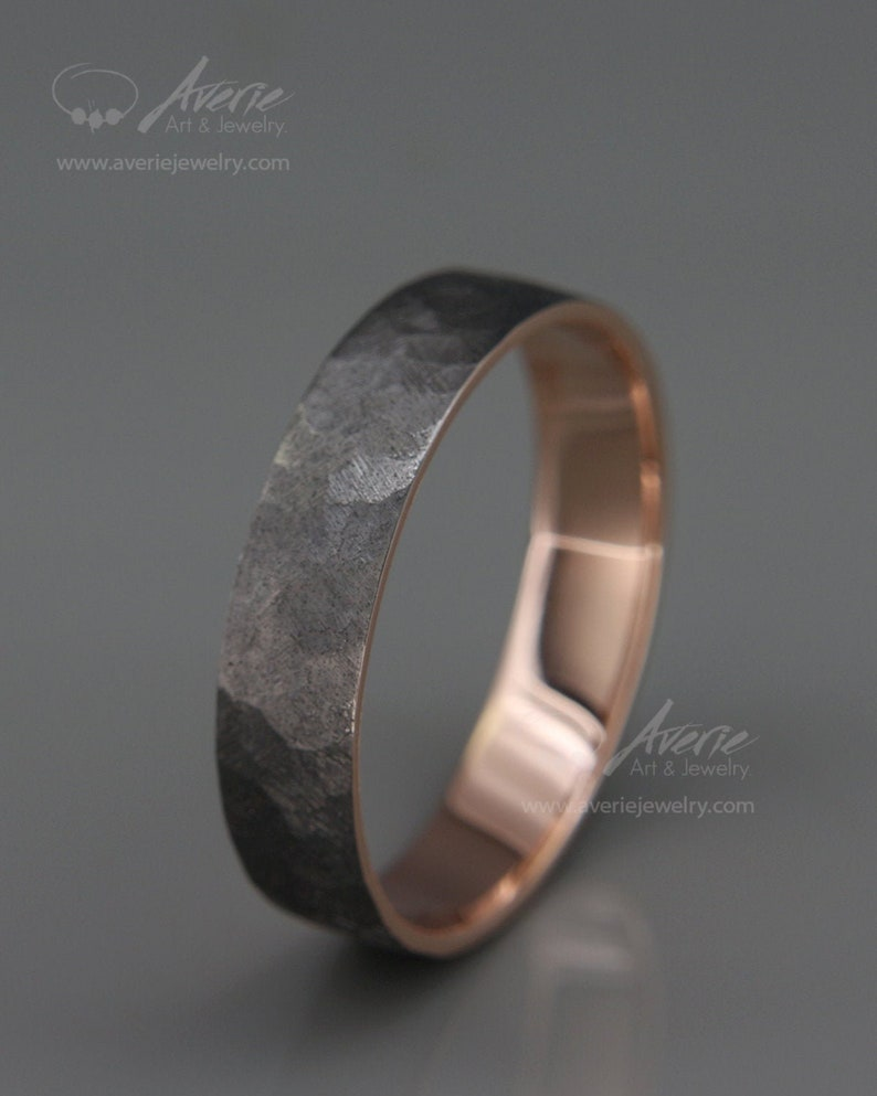 Black 14k Rose Gold Men's wedding ring Handmade 14k solid image 1