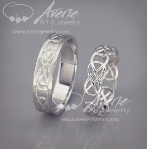 14k White Gold Celtic Knot Wedding Rings Set Handmade 14k Etsy