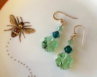 Golden and Green Earrings Gemstone roses dangles flower earrings Easter St Patrick Day Green Aventurine Earrings