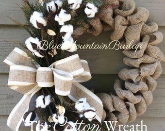 the cotton burlap wreath cotton wreath summer wreath front door wreath cotton boll - How To Decorate A Burlap Wreath For Christmas