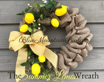 Lemons, The Lemons Burlap Wreath, Summer Wreath, Front Door Wreath, Mother's Day gift