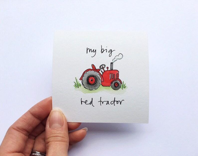 Miniature 'Big Red Tractor' children's song / nursery rhyme giclee art print
