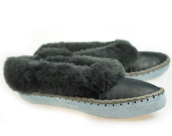 28505d89b Mens SHEEPSKIN SLIPPERS Moccasin Leather Boots Moccasins for Men House Sheepskin  Slippers Handmade Shoes Wool Slippers BEST slippers house