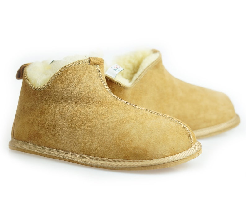 4f7a5de075f Mens Sheepskin Shearling Slippers Moccasin Boots for Men House Sheepskin  Slippers Handmade Shoes 100% Wool Slippers ugg style Best emu style