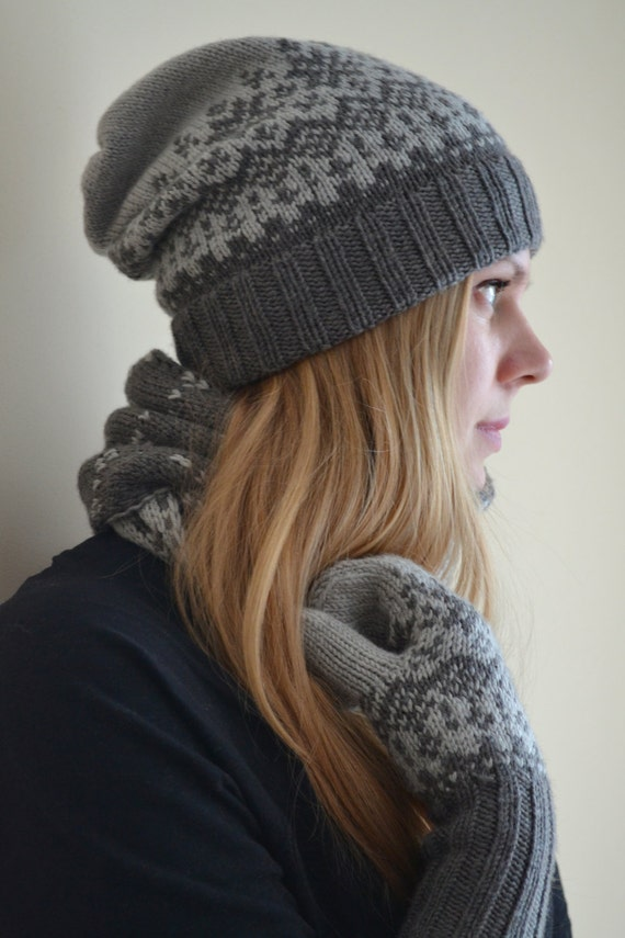 Slouchy beanie hat in Nordic style. Unisex Norwegian  cc6f7bbfefae
