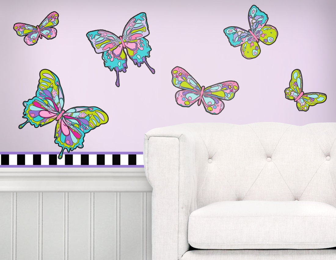 Butterfly Wall Art Peel And Stick Wall Decals With Borders