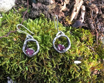 """Contemporary Earrings """"Isthar"""" - Pink Tourmaline and sterling silver"""