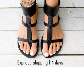 35d673b87 KASOS black leather women sandals from Greece