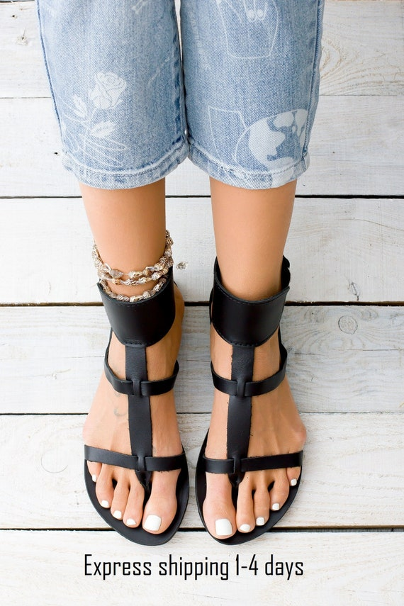 KASOS black leather women sandals from Greece, gladiator sandals, black ankle cuff sandals, minimalist sandals, black shoes for women